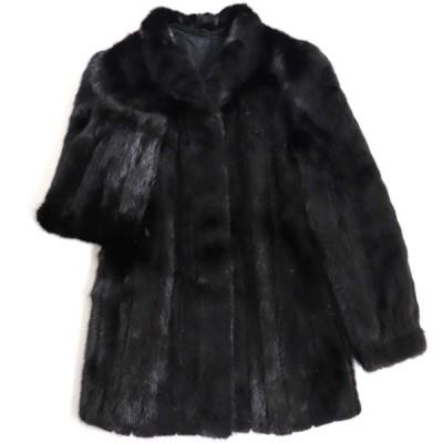 極美品▼フランス製 MINK ミンク 本毛皮コート ブラック 毛質艶やか・柔らか◎