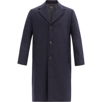 アーペーセー A.P.C. メンズ コート アウター Sacha single-breasted wool-blend felt coat Navy