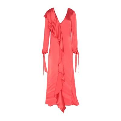 WEILI ZHENG ロングワンピース&ドレス コーラル XS レーヨン 100% ロングワンピース&ドレス
