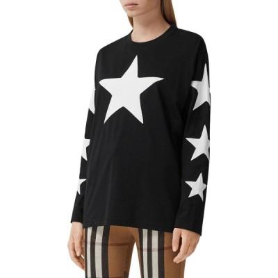 バーバリー BURBERRY レディース Tシャツ トップス Creuse Star Graphic Tee Black