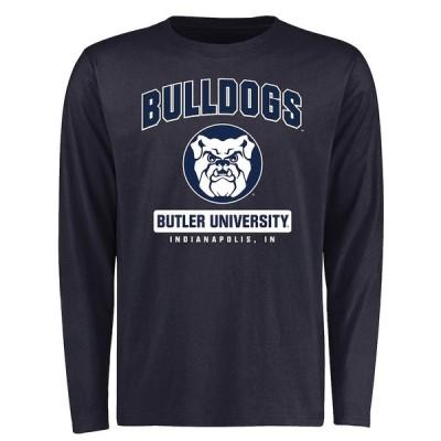 """メンズ Tシャツ 長袖 ロンT """"Butler Bulldogs"""" Campus Icon Long Sleeve T-Shirt - Navy"""