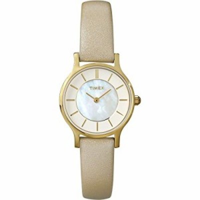 Timex - T2P313 - Classic - Montre Femme - Quartz Analogique - Cadran Nacre - Bracelet Cuir Beige
