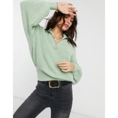 エイソス レディース ニット・セーター アウター ASOS DESIGN zip front sweater with collar in pale green Pale green