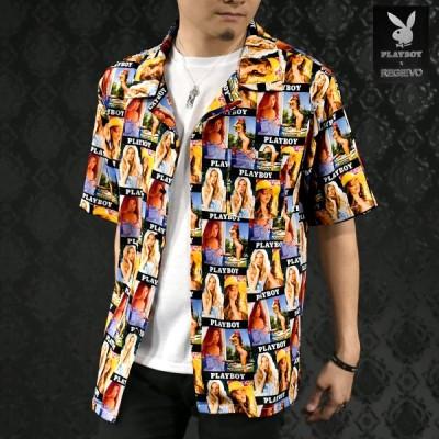 PLAYBOY プレイボーイ レジエボ 開襟シャツ ガール レディ フォトプリント 半袖 外国人 オープンシャツ mens メンズ(マルチカラー) 95146