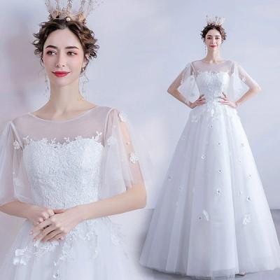 Aライン ウェディングドレス ロング 袖あり 編み上げ プリンセスドレス ホワイト 結婚式ドレス 花嫁 ブライダルドレス 披露宴