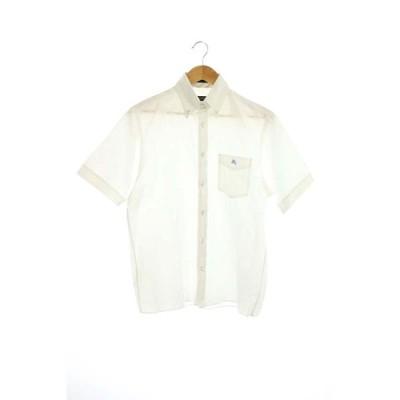 【中古】バーバリーブラックレーベル BURBERRY BLACK LABEL 半袖ボタンダウンシャツ コットン 2 白 ホワイト /ES ■OS メンズ 【ベクトル 古着】