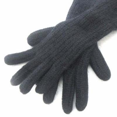 【中古】アクネ ストゥディオズ Acne Studios ロング グローブ 手袋 ニット ブラック 黒 レディース