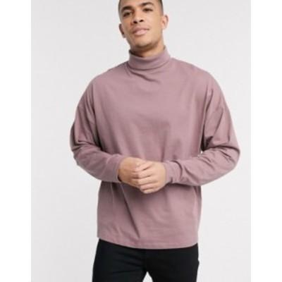 エイソス メンズ シャツ トップス ASOS DESIGN oversized long sleeve t-shirt with roll neck in purple Twilight mauve