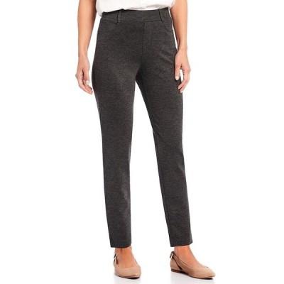 イントロ レディース カジュアルパンツ ボトムス Petite Size Stella Double Knit Slim Straight Leg Pull-On Pants Charcoal Heather