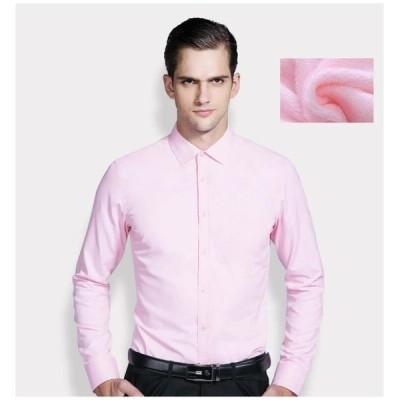 5color 裏起毛 裏ボア メンズシャツ ワイシャツ 長袖 ビジネスシャツ ボアシャツ 無地 厚手 防寒 保温 スリム 細身 オフィス 通勤 フォーマルトップス 秋冬