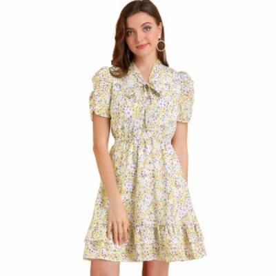 Allegra K ワンピース 花柄ドレス フリル裾フィット フレアネクタイネック レディース イエロー L