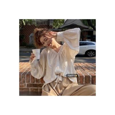 【送料無料】韓国風 レトロ 襟 気質 シャツ 春 ルース コンフォート 折り畳む デザイン | 346770_A64732-2514846
