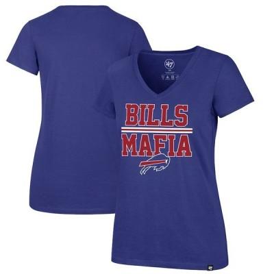 フォーティーセブン レディース Tシャツ トップス Buffalo Bills '47 Women's Bills Mafia Splitter V-Neck T-Shirt