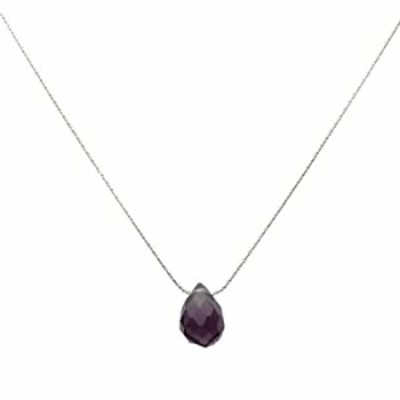 """Joyful Creations Sterling Silver Chain Faceted Purple Glass Briolette Necklace 16""""+2"""""""