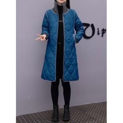 ダウンコート ダウンジャケット キルティングコート アウター 大きいサイズ 定番 防寒 軽量 薄手 つなぎ シンプル カジュアル ロング丈