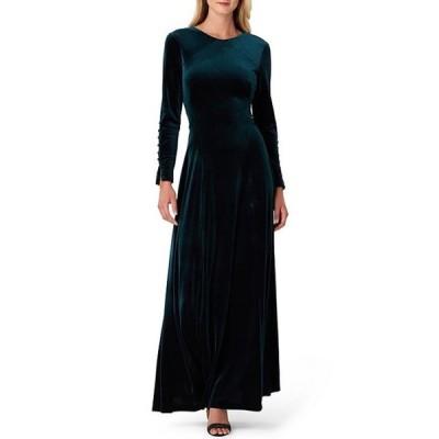 タハリエーエスエル  レディース ワンピース トップス Velvet Button Sleeve A-Line Gown