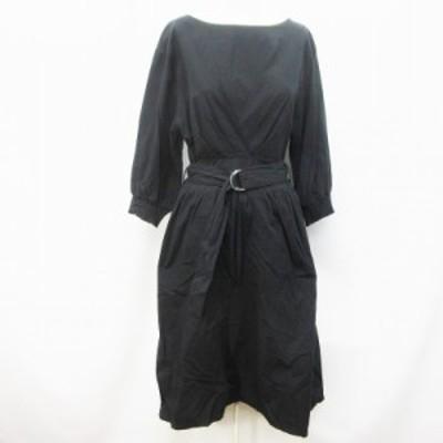 【中古】ナチュラルクチュール natural couture ワンピース ロング 七分袖 ボートネック リングベルト 綿 F(M相当) 黒