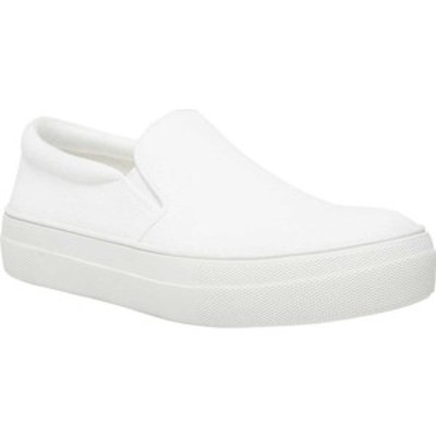 スティーブ マデン レディース スニーカー シューズ Gills Slip On Platform Sneaker White Canvas Fabric