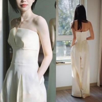 パンツドレス 白 ウェディングドレス パンツ 二次会 花嫁ドレス 結婚式 ドレス パーティードレス パンツ おしゃれ 個性的 きれいめ 大人