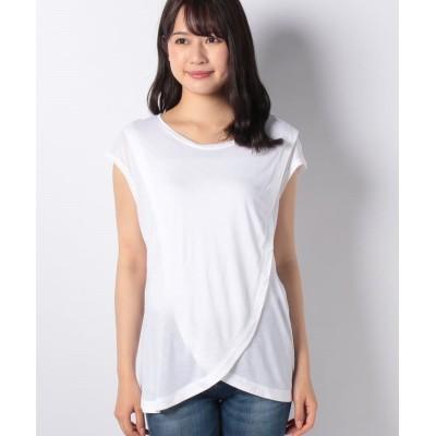 (SISLEY/シスレー レディス)綿パネルノースリーブTシャツ/レディース ホワイト