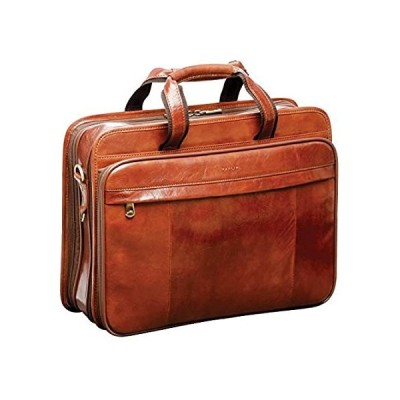 "Mancini Italian Leather 15.4"" Laptop Briefcase - Brown"