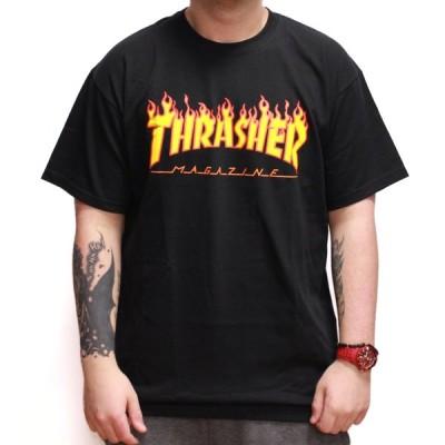 Thrasher Magazine(US企画)スラッシャーマガジン Tシャツ Flame Logo T-Shirt Black スケボー SKATE SK8 スケートボード HARD CORE PUNK ハードコア パンク