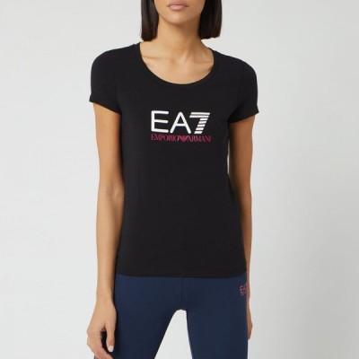 アルマーニ Emporio Armani EA7 レディース Tシャツ トップス Basic Logo T-Shirt - Black/White Black