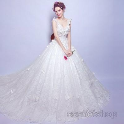 ウェディングドレス 大きいサイズ 結婚式 花嫁ドレス 二次会 プリンセスドレス トレーンライン 白 白ドレス ナイトドレス ウェディング 上品【sssnetshop】
