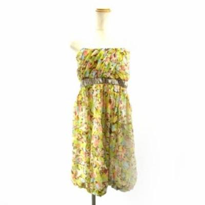 【中古】トッカ TOCCA ベアトップワンピース ドレス ひざ丈 花柄 イエロー ブラウン 4 M IBS91 レディース