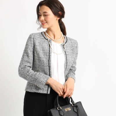 インディヴィ INDIVI [S]【ママスーツ/入学式 スーツ/卒業式 スーツ】ネオブライトツイードジャケット (ブラック)