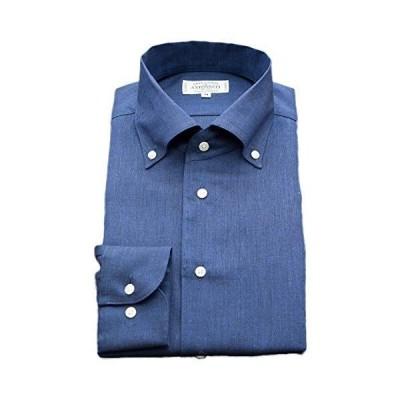 [アントヌーチ] ワイシャツ メンズ 長袖 スリム 麻100 ボタンダウン イージーケア ネイビー 1003-OPB3-M-82