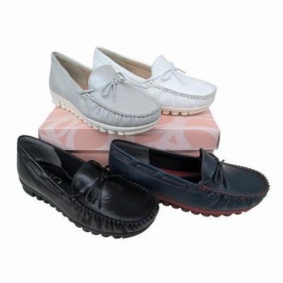 送料無料 サッソー Sasso 294 レディース カジュアルシューズ モカシン 革靴 リゾート靴 仕事靴 リボン付き ブラック ネイビー シルバー ホワイト