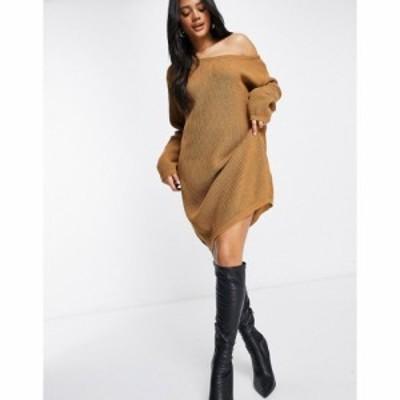 ファッションキラー Fashionkilla レディース ワンピース ワンピース・ドレス Knitted Slouchy Off Shoulder Jumper Dress In Brown ブラ