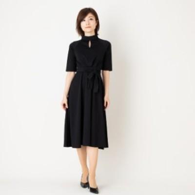 ワンピース ヘップバーンドレス 七分袖 ミモレ丈 リボン  上品デート お呼ばれ  韓国黒Sサイズ