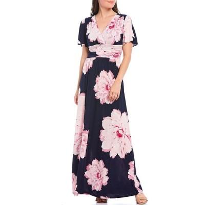イグナイトイブニングス レディース ワンピース トップス V-Neck Flutter Sleeve Floral Print Maxi Dress Navy Multi