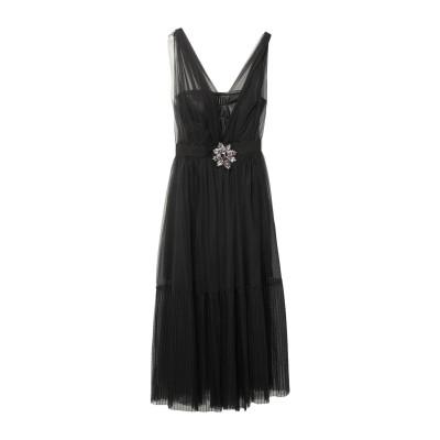 CERDELLI 7分丈ワンピース・ドレス ブラック 38 ポリエステル 100% 7分丈ワンピース・ドレス