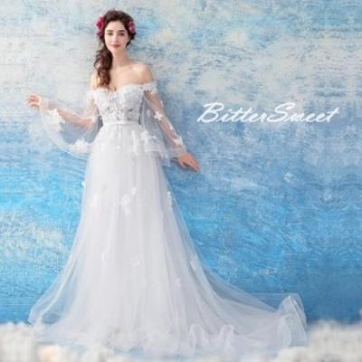 ふんわり袖 ウェディングドレス 結婚式 ウエディングドレス スレンダー 編み上げ トレーン【ホワイト】【XS~XXXL】【wd104ts】