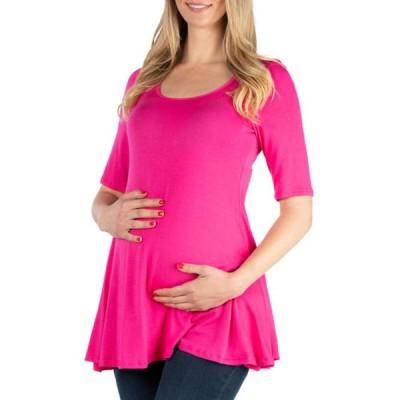 24セブンコンフォート レディース シャツ トップス Women's Maternity Elbow Sleeve Swing Tunic Top