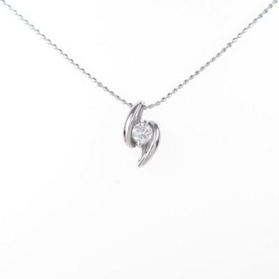 【中古品】K14WG ダイヤモンドネックレス