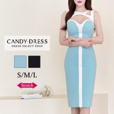 【予約】S/M/L 送料無料 Luxury Dress ストレッチ無地×バイカラー切り替えデコルテカットデザインノースリーブタイトミディドレス GC210