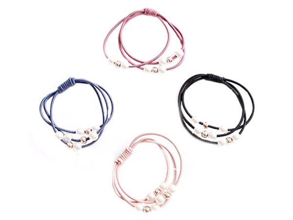 三線合一珍珠打底皮筋-韓版高彈力紮頭飾品(1入)【D020935】髮圈/顏色隨機出貨