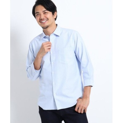 TAKEO KIKUCHI/タケオキクチ ドビードット刺し子7分袖シャツ ライトブルー(091) 04(LL)