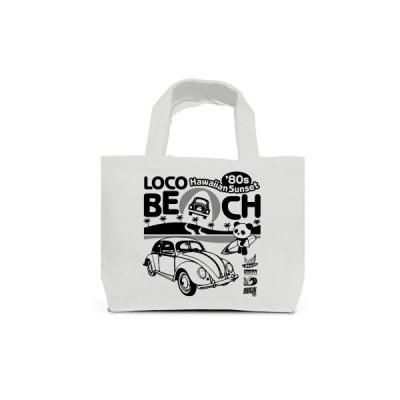 ロコビーチとサーファーのパンダ トートバッグS(ライトグレー)