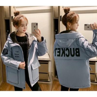 アウター フード ミリタリージャケット あったか 大きいサイズ カジュアル 秋冬 ミディアム丈 黒 白ブルー レッド イエロー 10代 20代