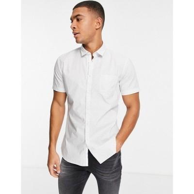ボス メンズ シャツ トップス BOSS Magneton short sleeve shirt in white White