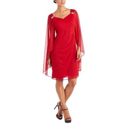 アールアンドエムリチャーズ ワンピース トップス レディース R&M Richards Embellished Cape-Overlay Dress Red