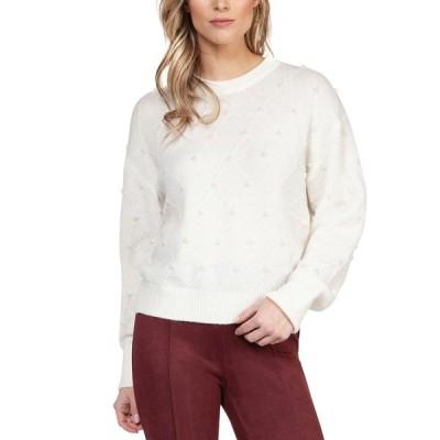 ブラック テープ ニット&セーター アウター レディース Textured Imitation-Pearl Sweater Off White