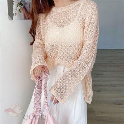 サマーニット 大きいサイズ レディース トップス tシャツ Tシャツ ブラウス 長袖 透け感 夏コーデ ゆったり 体型カバー 夏服 UVカット 紫外線対策 冷房対策