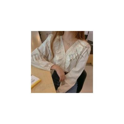 ブラウスレディース春秋きれいめ長袖フリル設計感シャツ復古調ブラウス韓国chic上品シャツTシャツトップス可愛い着痩せ通勤新作