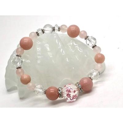 天然石 ピンク 桜満開彫水晶 ピンクタルク ローズクォーツ ブレスレット